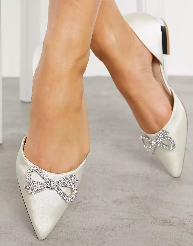 pointed toe embellished ivory satin ballerina wedding flats shoes from ASOS
