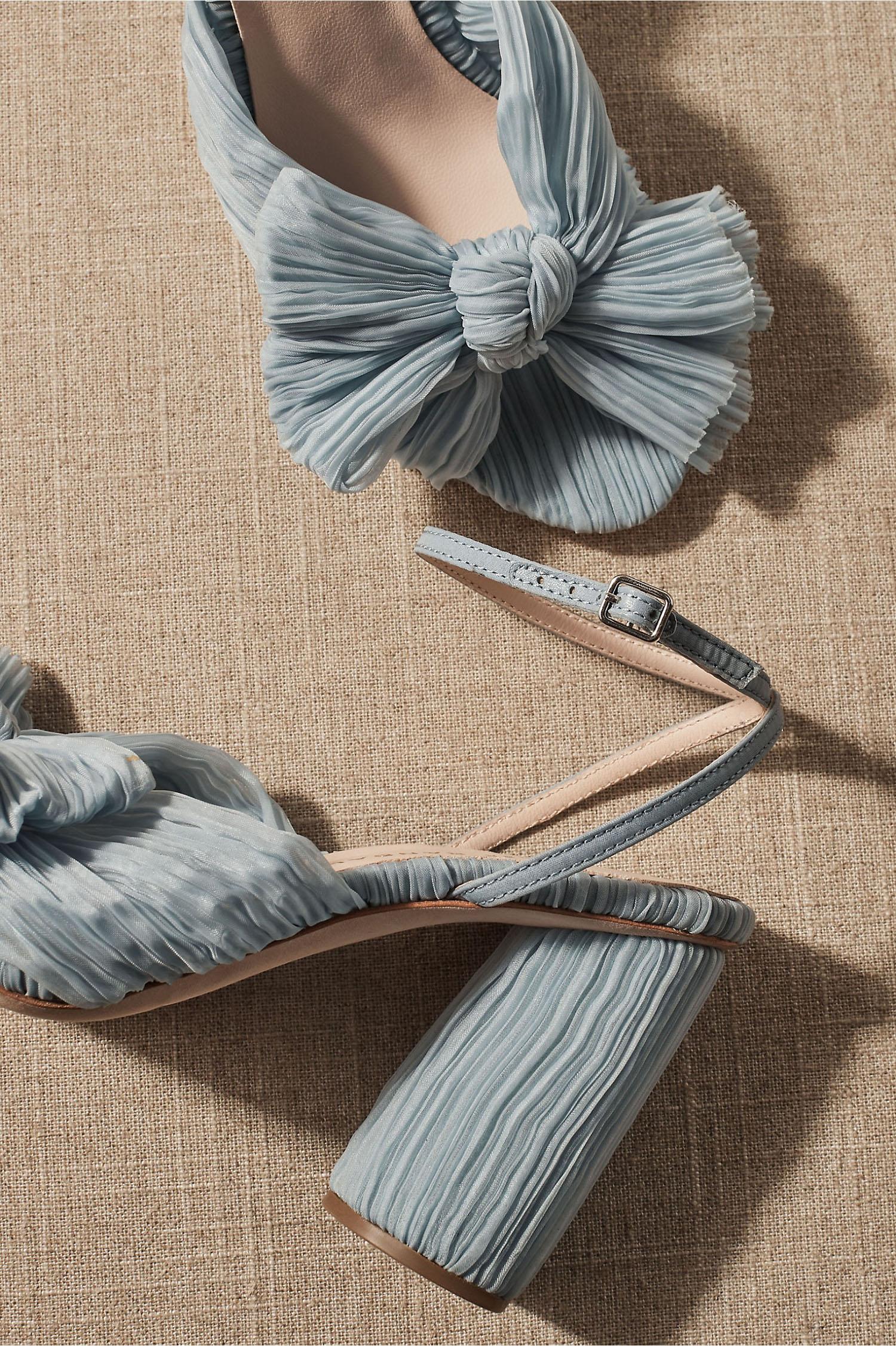 powder blue ruffled Loeffler Randall BHLDN wedding heels