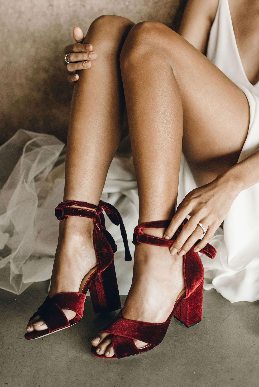 red velvet Forever Soles wedding heels