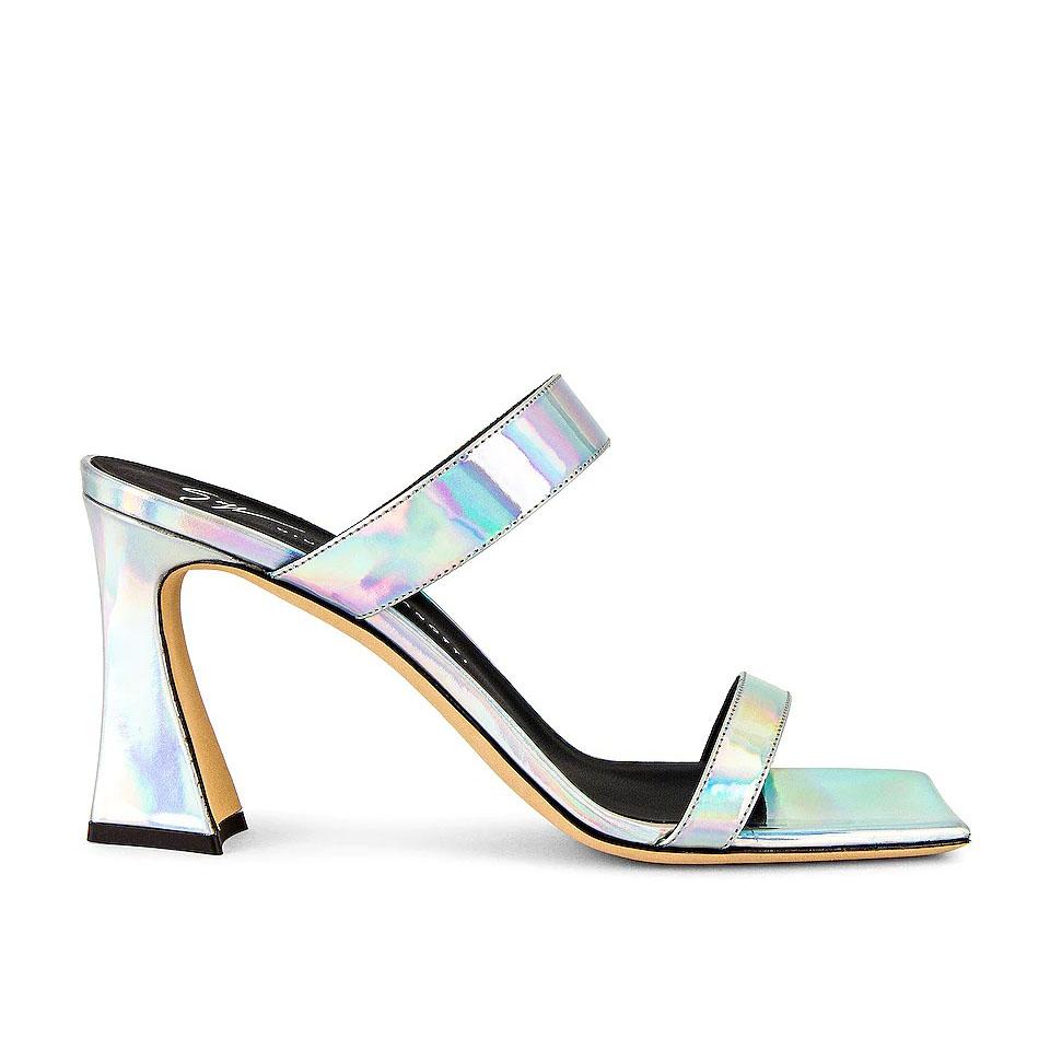 reflective rainbow mule heel Revolve wedding shoes