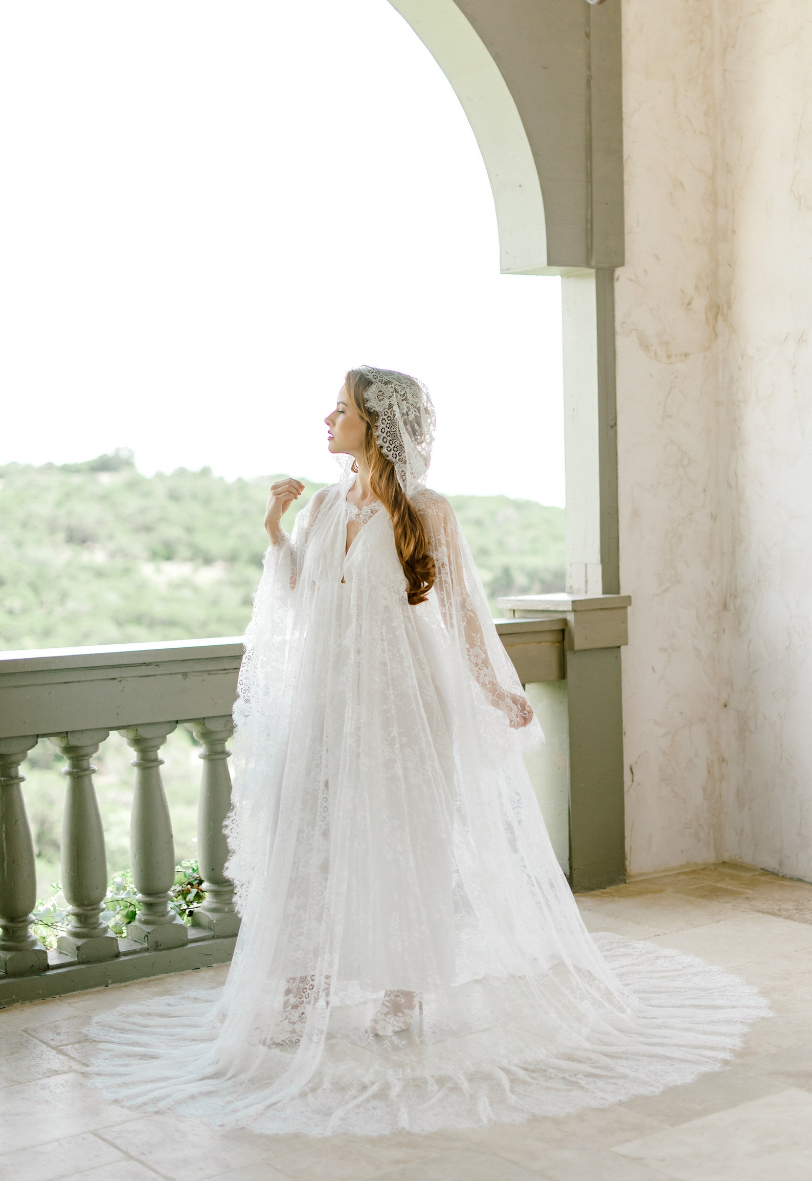 romantic lace wedding cape with hood