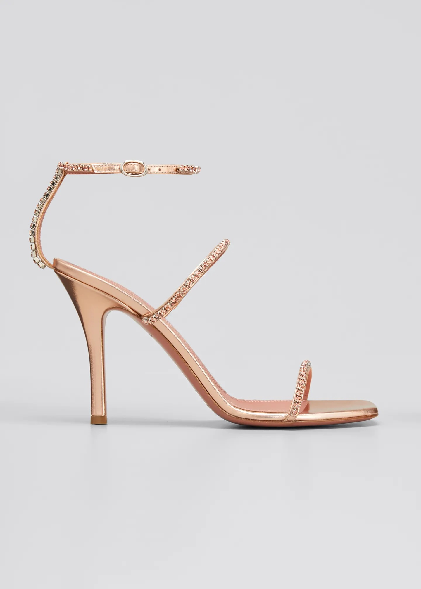 rose gold studded Amina Muaddi wedding heels with delicate ankle straps
