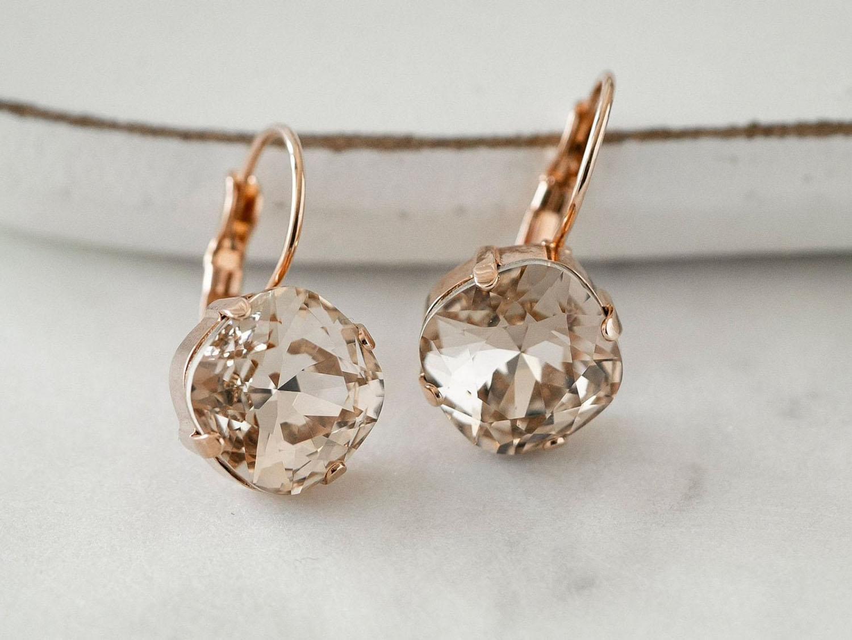 rose gold cushion cut Swarovski earrings