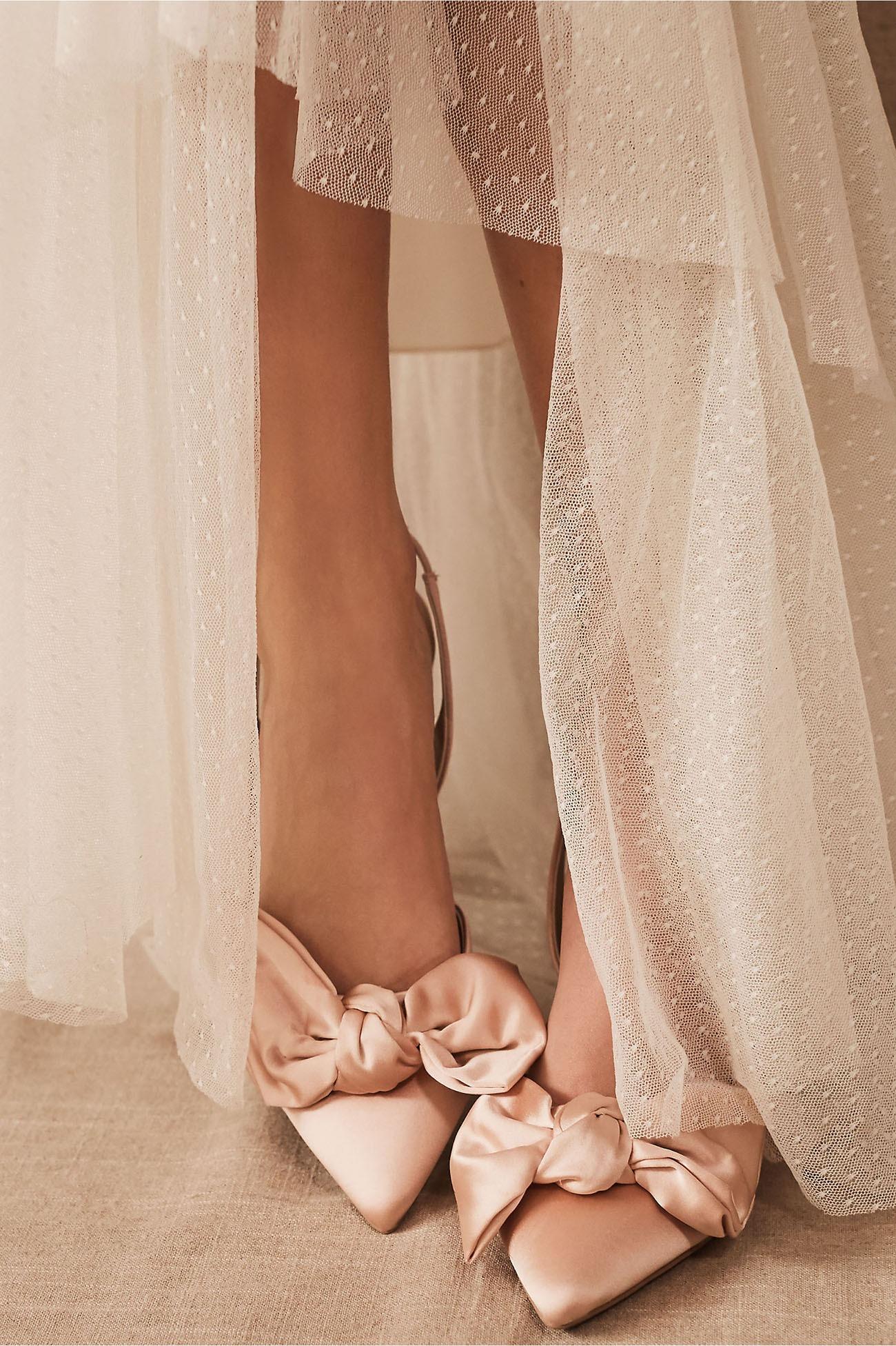 satin blush bow heels BHLDN wedding shoes