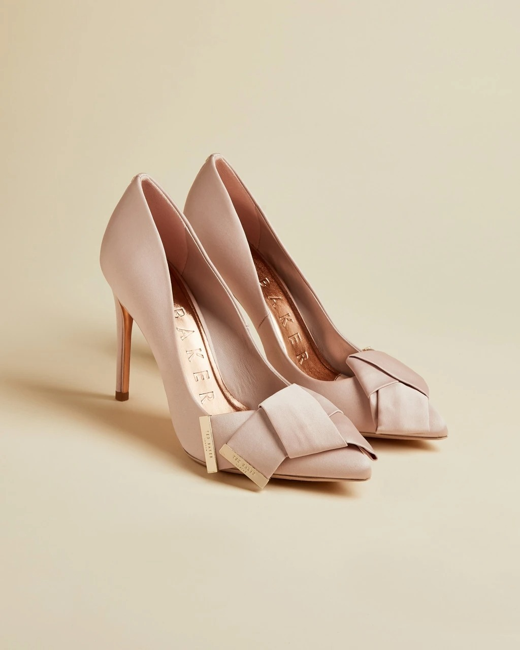 satin pink bow stiletto wedding heels by Ted Baker