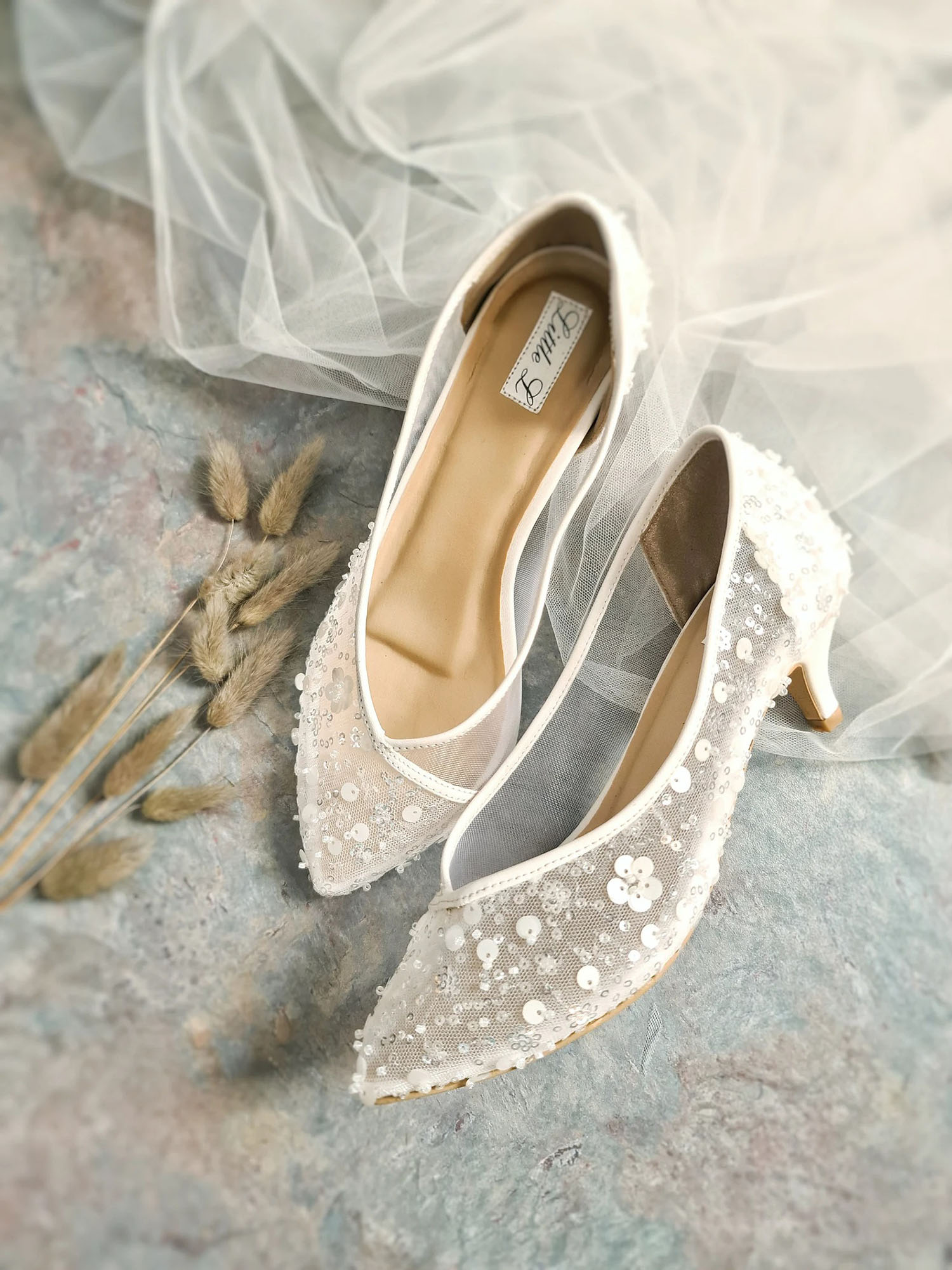 sequin embroidered Little L kitten heels Etsy wedding shoes