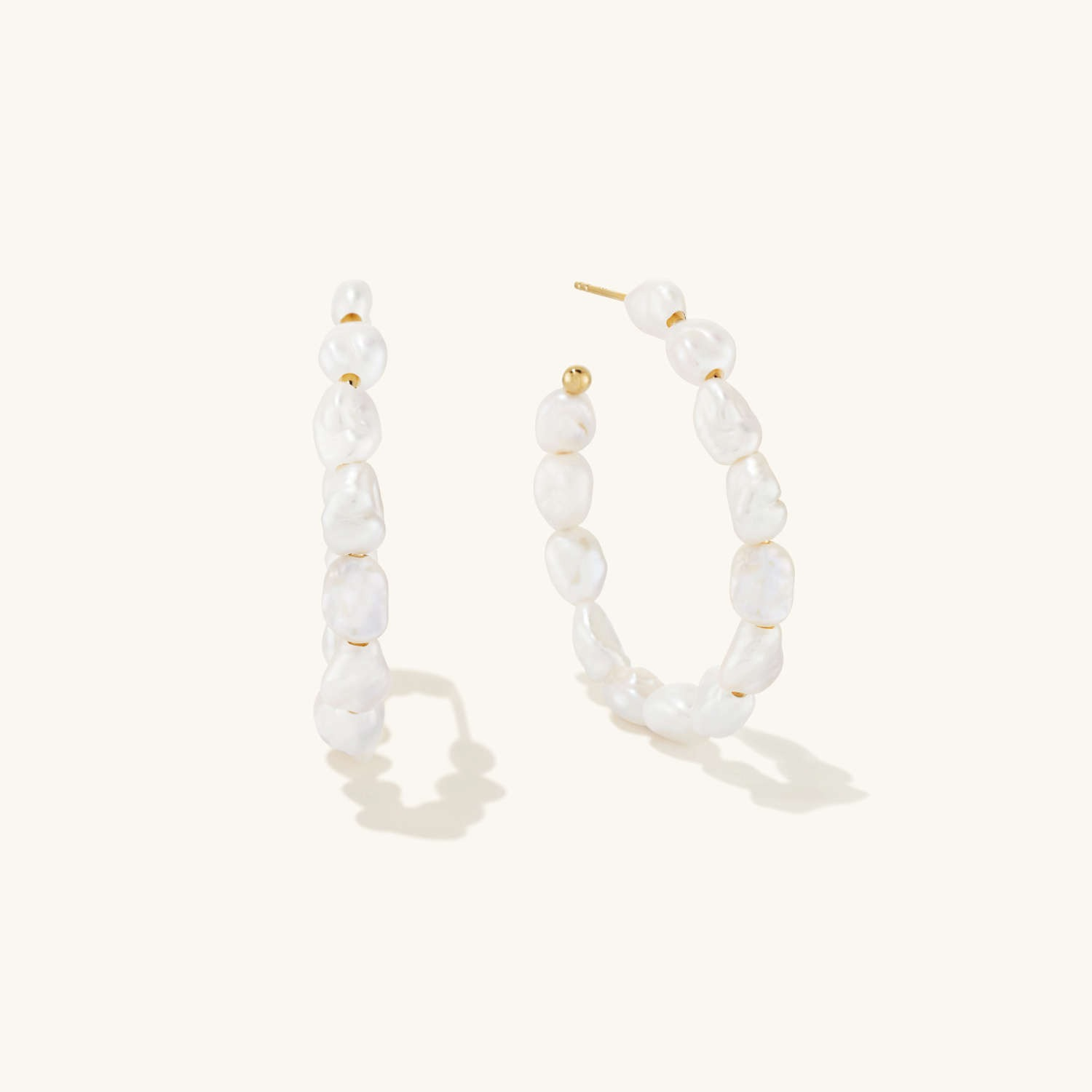 statement pearl hoop wedding earrings with gold posts