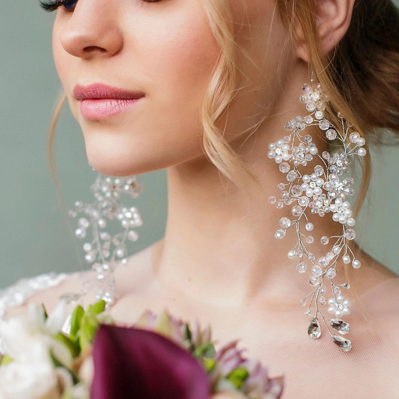 stone studded long chandelier silver wedding earrings