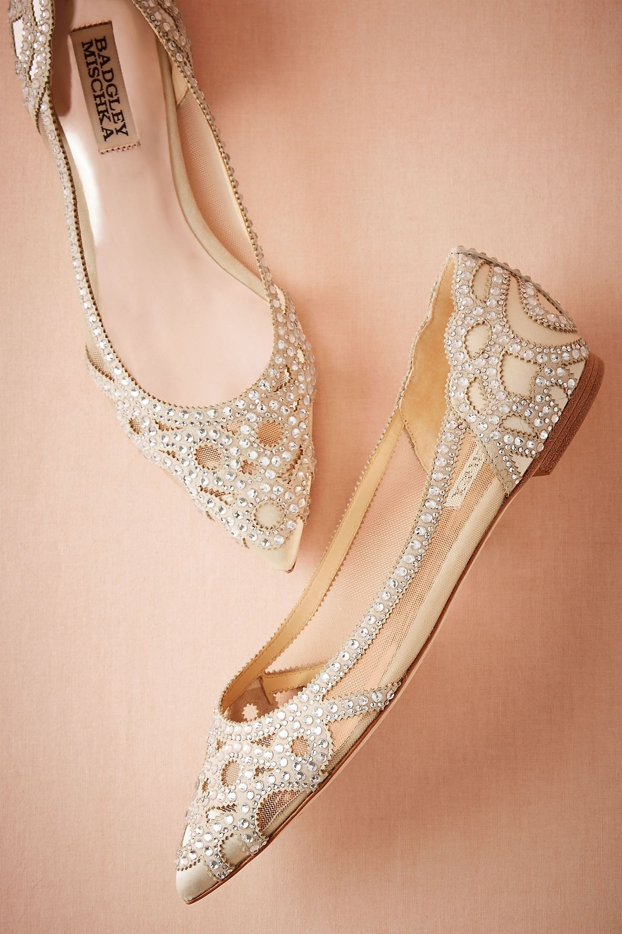 studded Badgley Mischka flats Anthropologie wedding shoes
