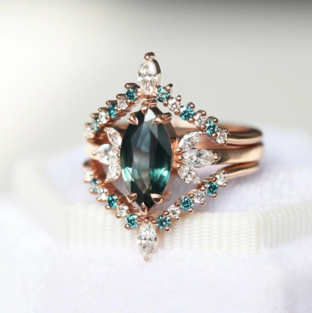 teal marquise cut sapphire engagement rings set