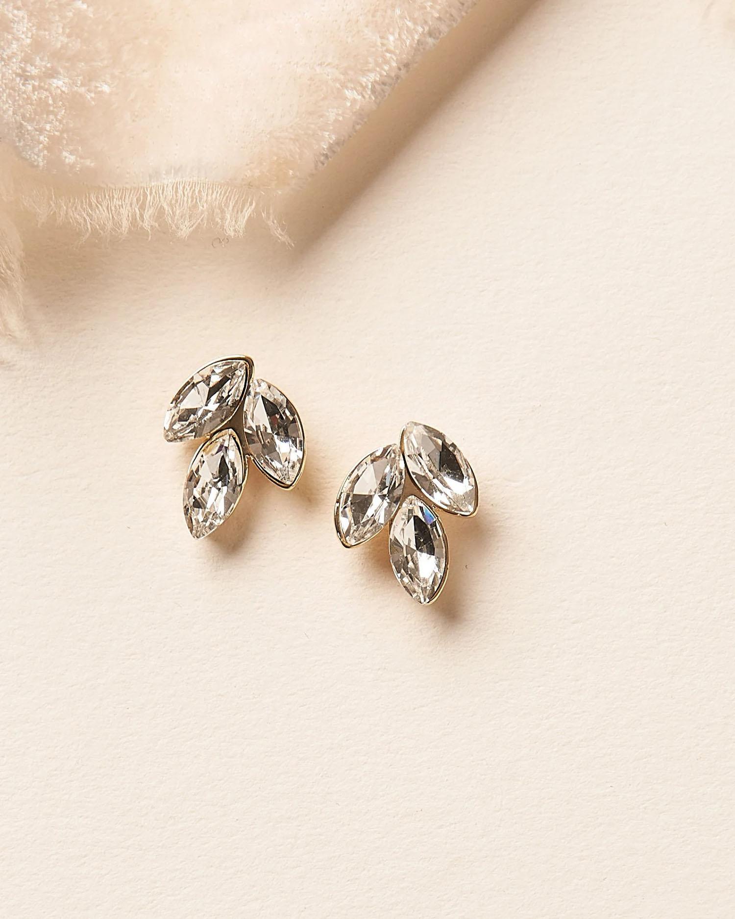 marquise cut stone trio silver wedding earrings