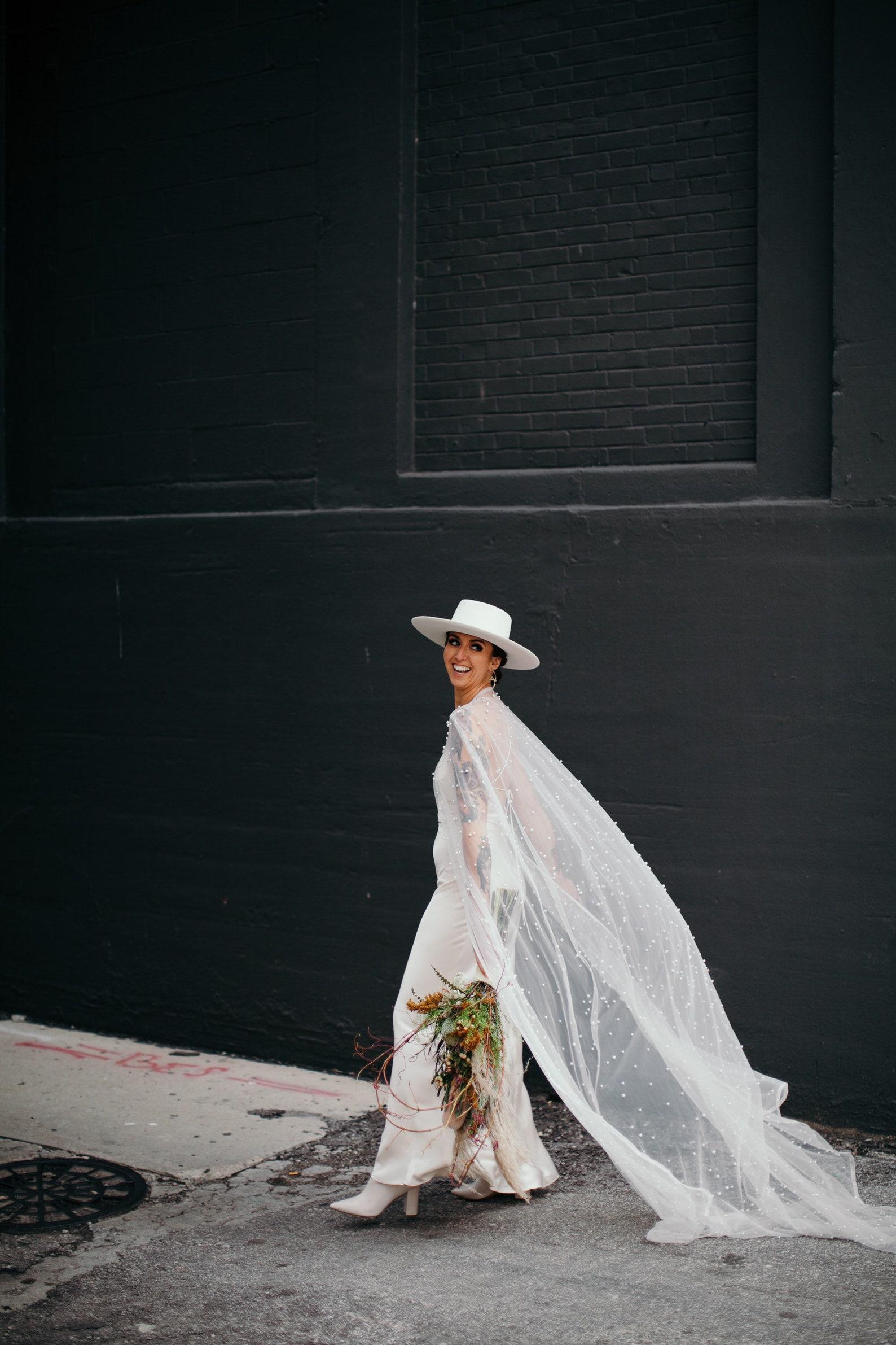 tulle pearl bridal cape