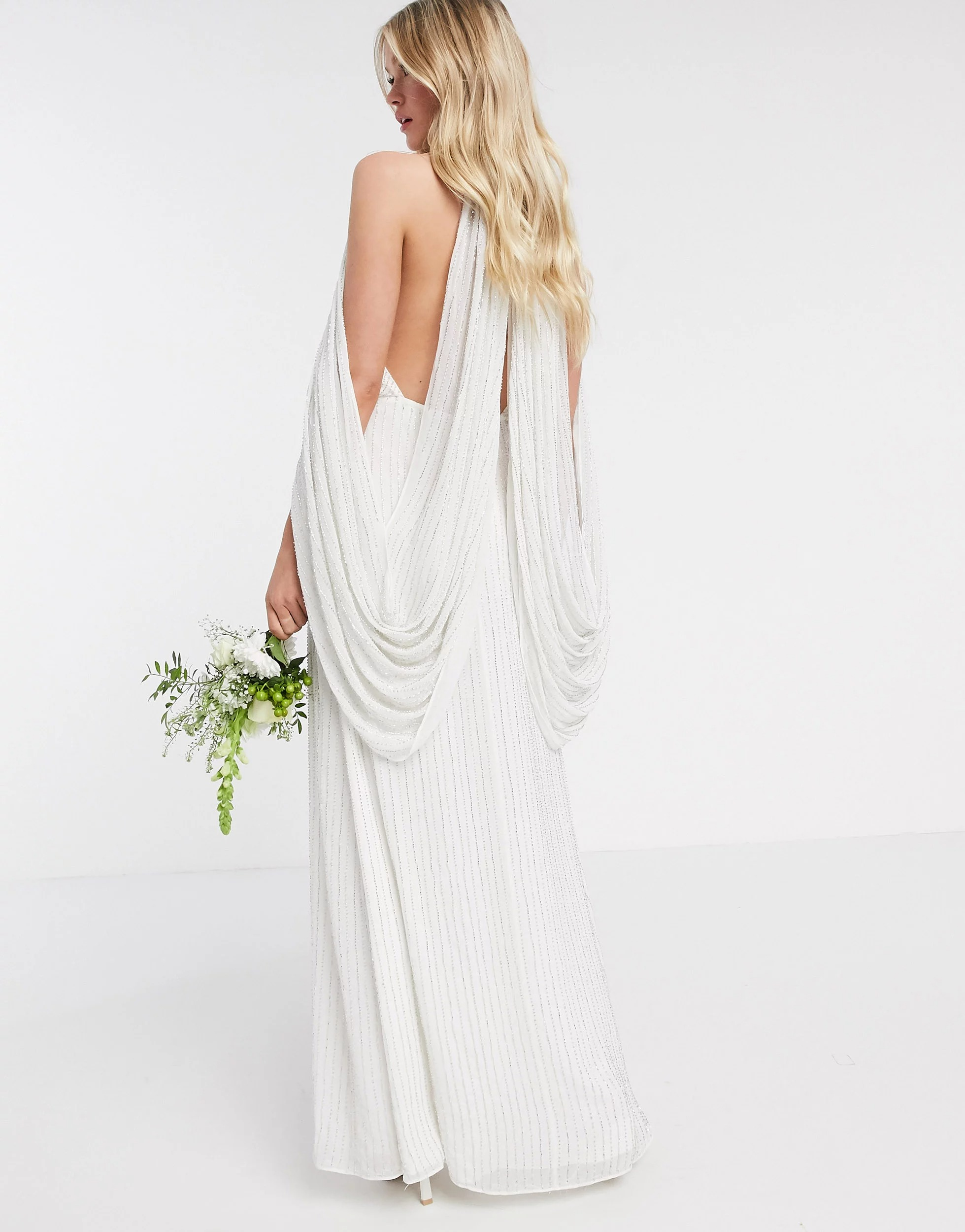 wedding dress with cape sleeves attached