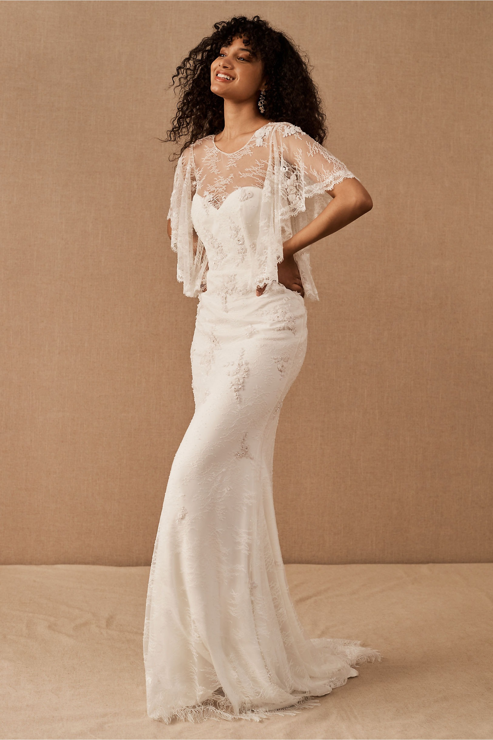wedding gown with cape attached bhldn