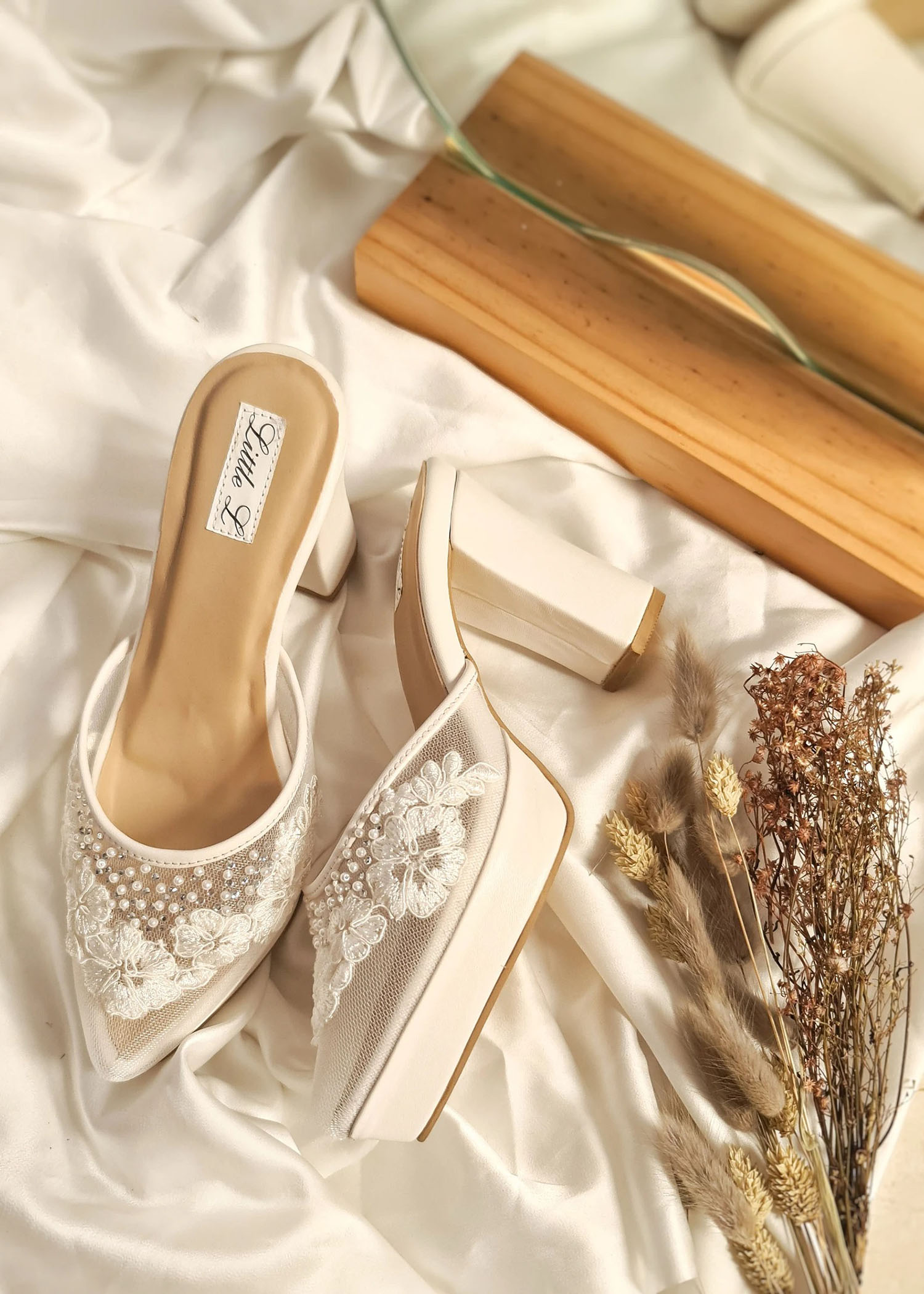 white embroidered Little L heel Etsy wedding shoes