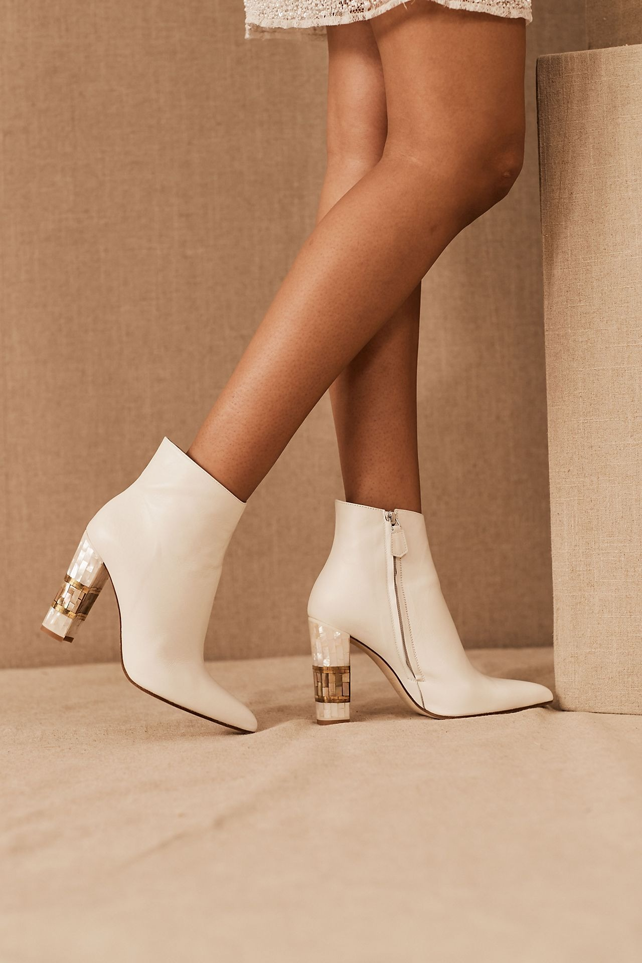 white leather and mother of pearl boot Anthropologie wedding shoes