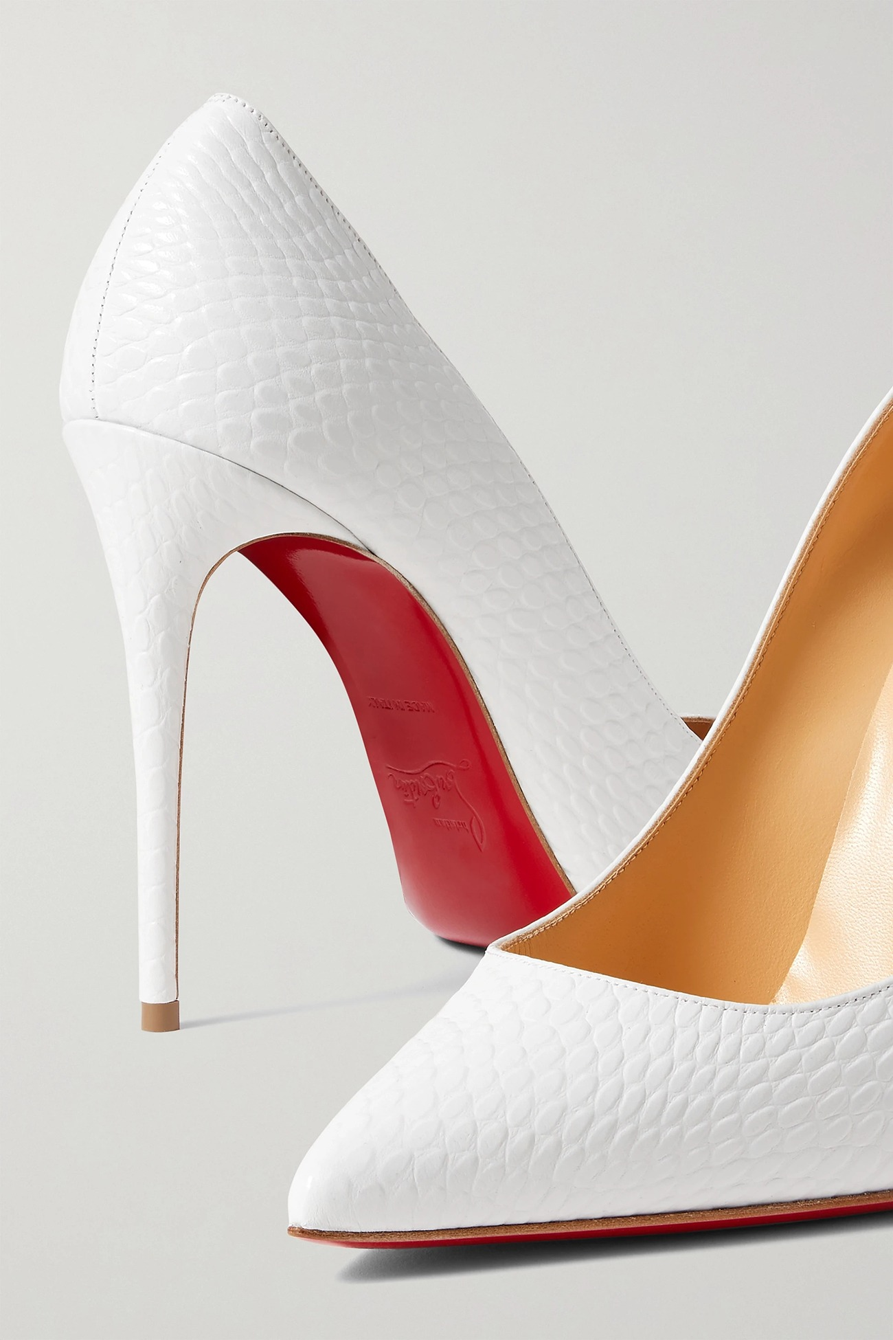 white point toe snake effect Christian Louboutin heel wedding shoes from NET-A-PORTER