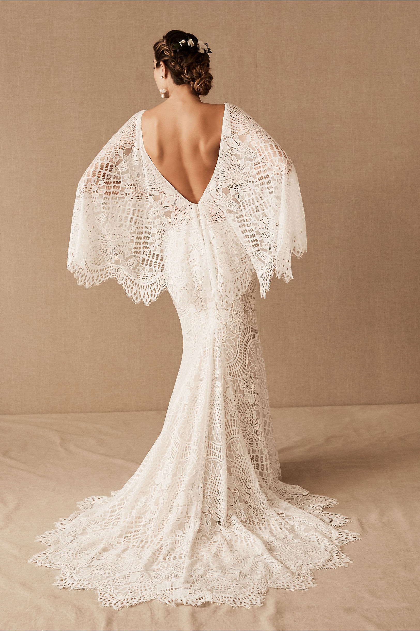 winter bridal cape attached to lace gown