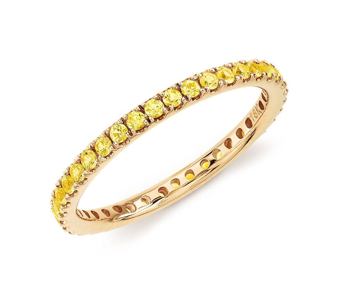yellow sapphire studded gold band