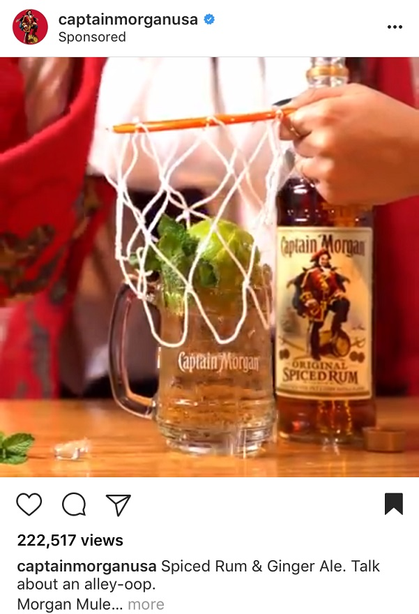 Instagram Advertising for Captain Morgan during March Madness
