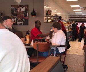 IHOP employee Joe Thomas Helps Feed Disabled Customer