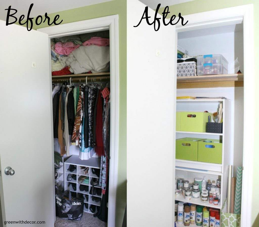 How To Organize A Craft Closet Without Spending A Dime Green With Decor