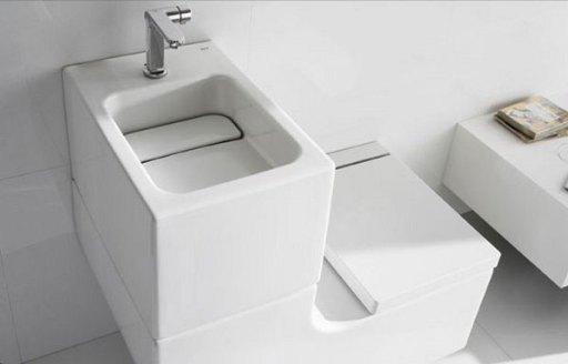 Washbasin + Watercloset2 by Eco Friendly, Space Saving Toilet & Washbasin Combo from Roca