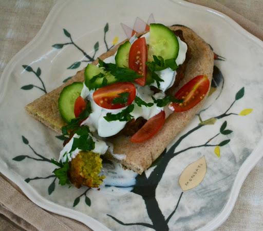 Meatless Monday falafel and tzatziki sauce.