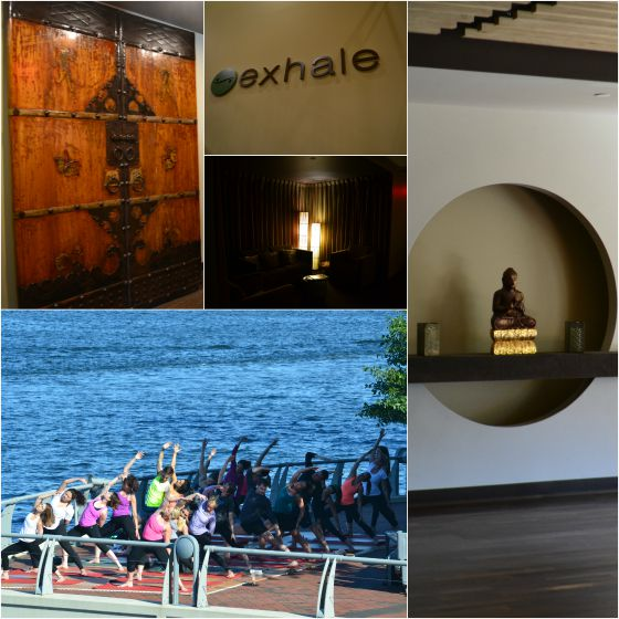 Exhale Spa at the Battery Wharf Hotel-featuring summer outdoor yoga