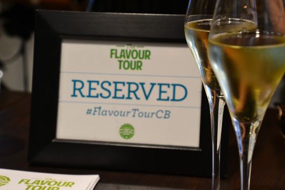 Welcome champagne on Camana Bay Flavor tour