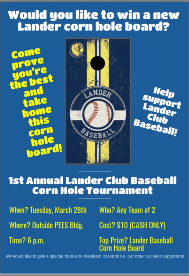 Lander Club Baseball Corn hole Tournament
