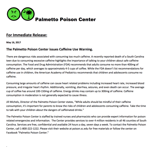 Palmetto Poison Center Caffeine Warning