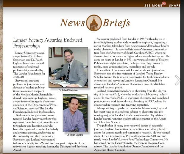 Stevenson Awarded Stranch Endowed Professorship