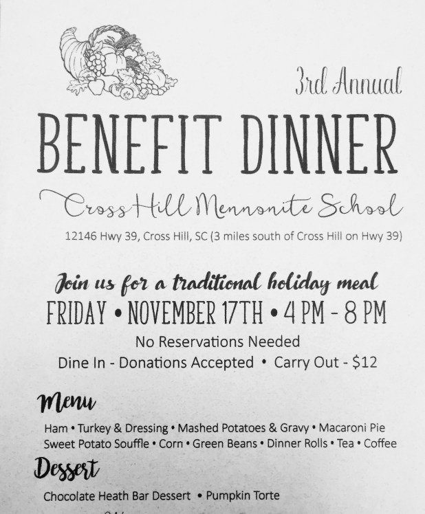 3rd Annual Cross Hill Mennonite Benefit Dinner