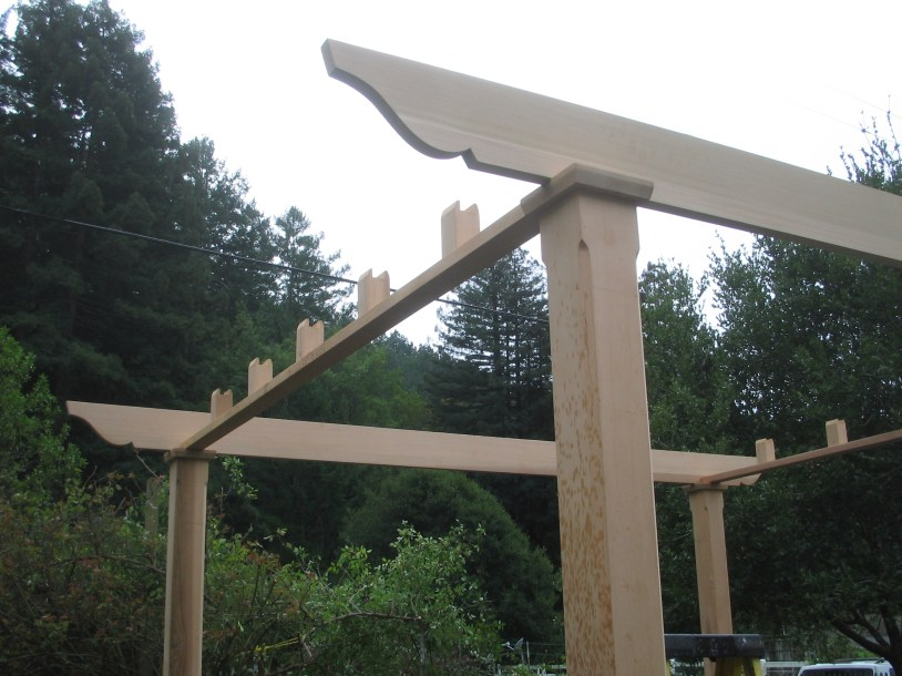 The pieces of the pergola kit from Trellis Structures come pre-cut, only requiring assembly on site.