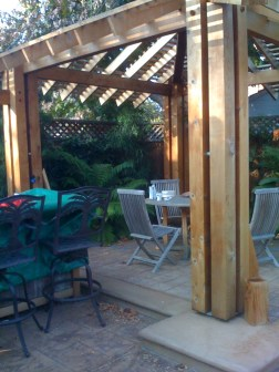 The pergola, built by the homeowner.
