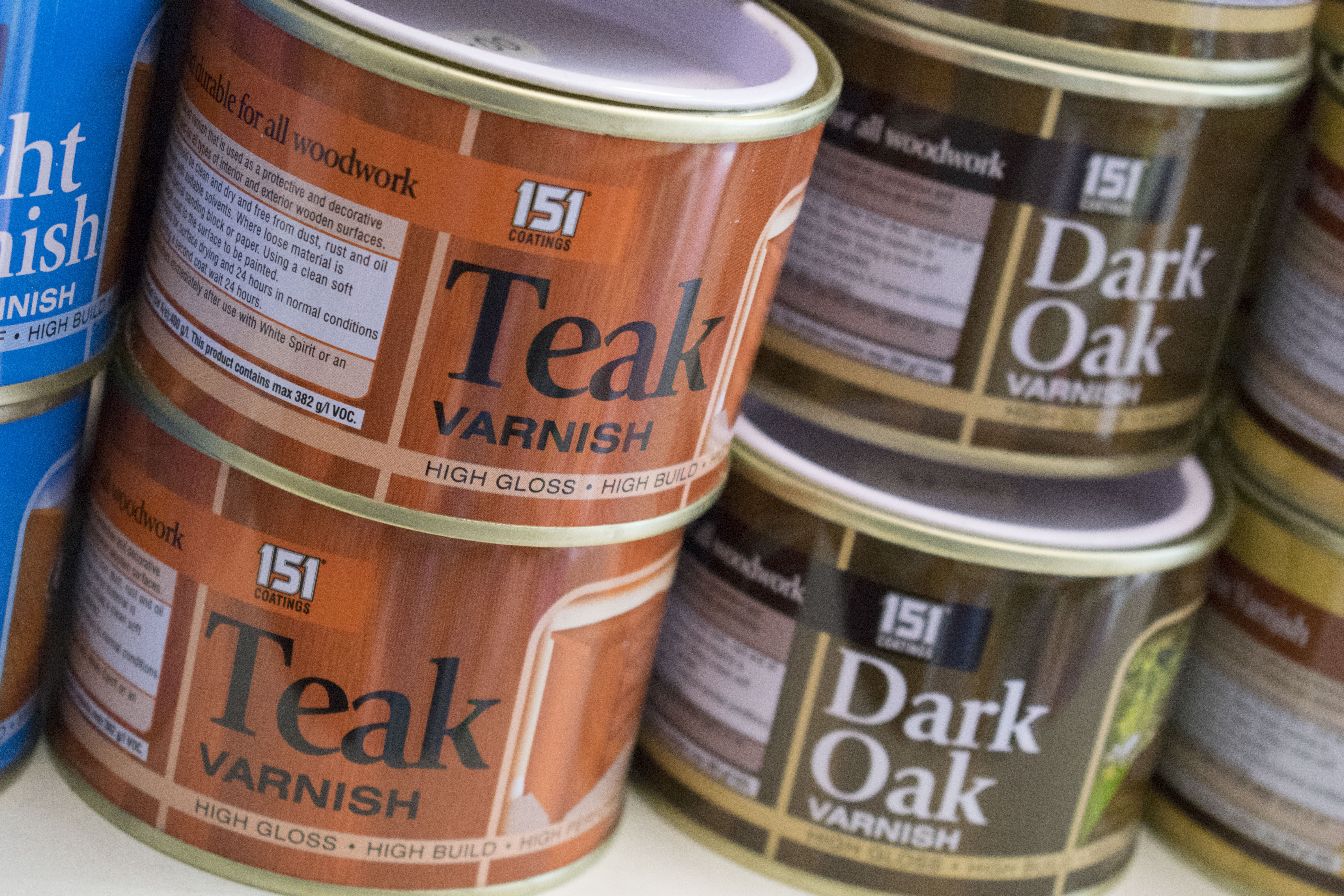 Tins of varnish