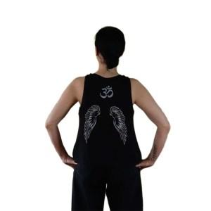camiseta organica fallen angel negra alas espalda