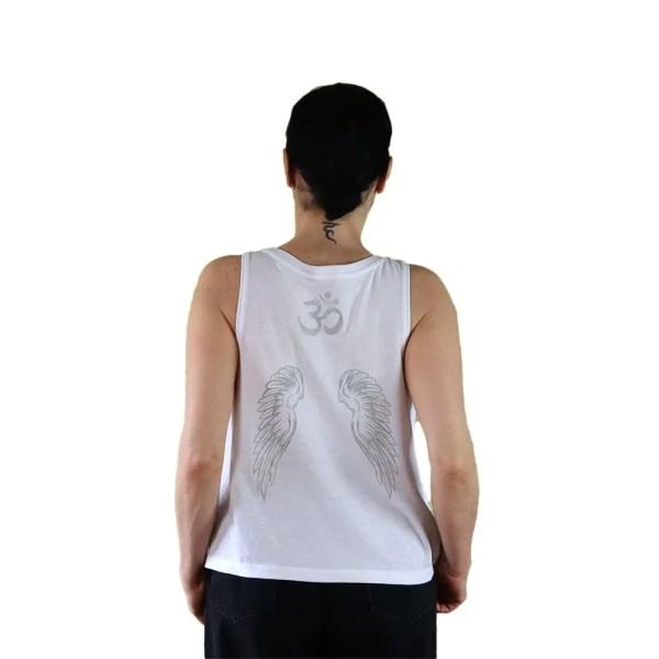 Camiseta algodón orgánico Fallen Angel blanco | plata alas en espalda