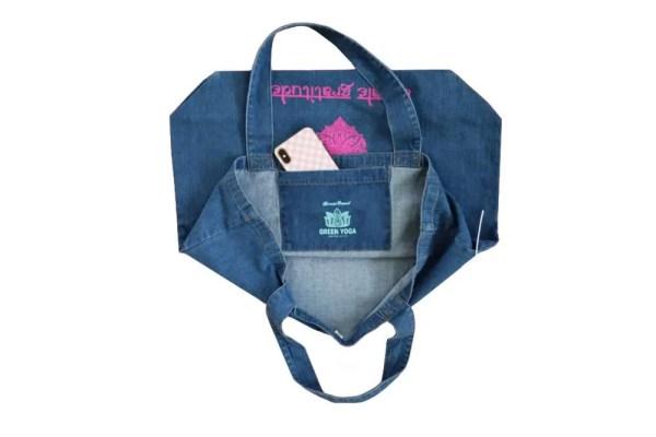bolsa algodon organico denim tote bolsillo interior