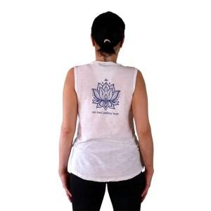Camiseta orgánica Buda sin mangas con mantra en espalda