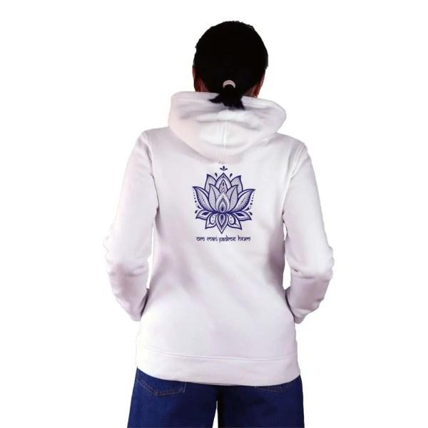 Sudadera con capucha organica Buda con mantra y loto en espalda