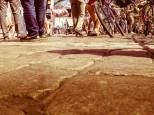 Monnemer Kopfsteinplaster im Sinne des Fahrradfestivals