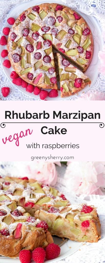 rhubarb marzipan raspberry cake www.greenysherry.com