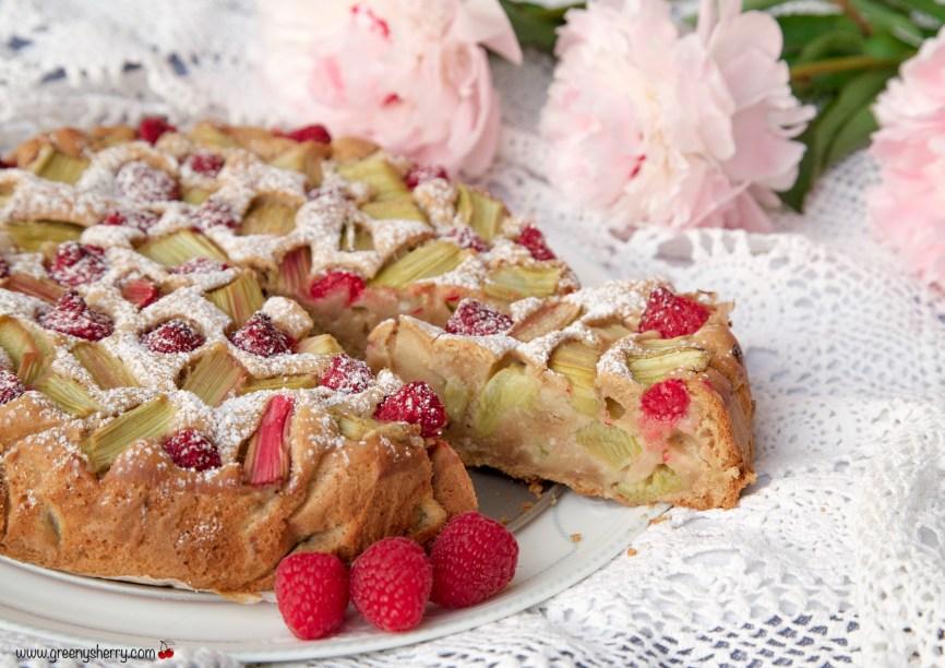 Rhubarb cake with raspberries and marzipan (vegan)