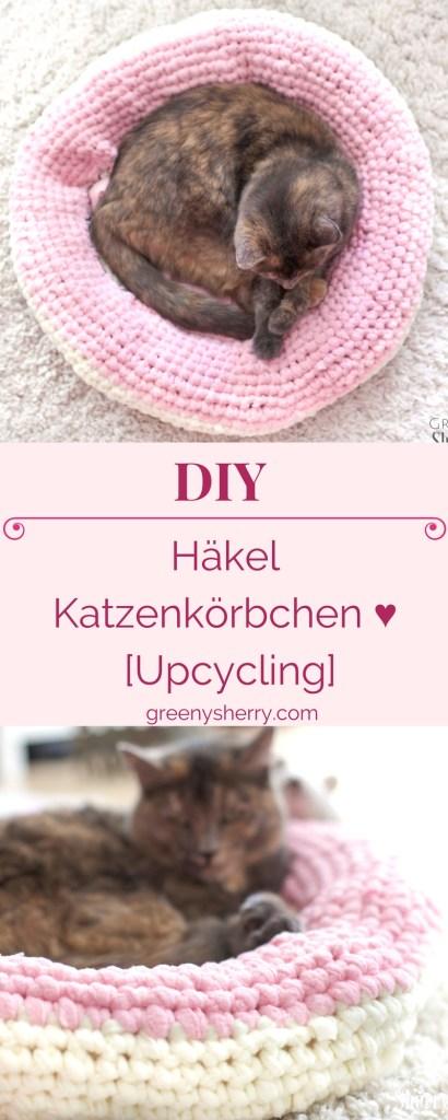 Valentinstag-DIY: Häkel Katzenkörbchen Katzenbett [upcycling] www.greenysherry.com