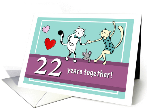 Happy 22nd Wedding Anniversary, Two Cats Dancing Card