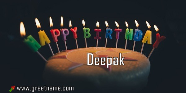 Happy Birthday Deepak Cake Candle Greet Name