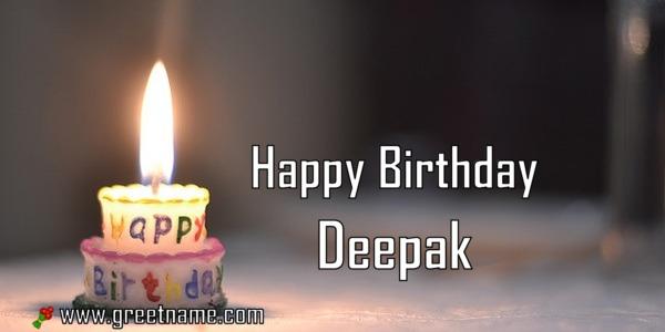 Happy Birthday Deepak Candle Fire Greet Name