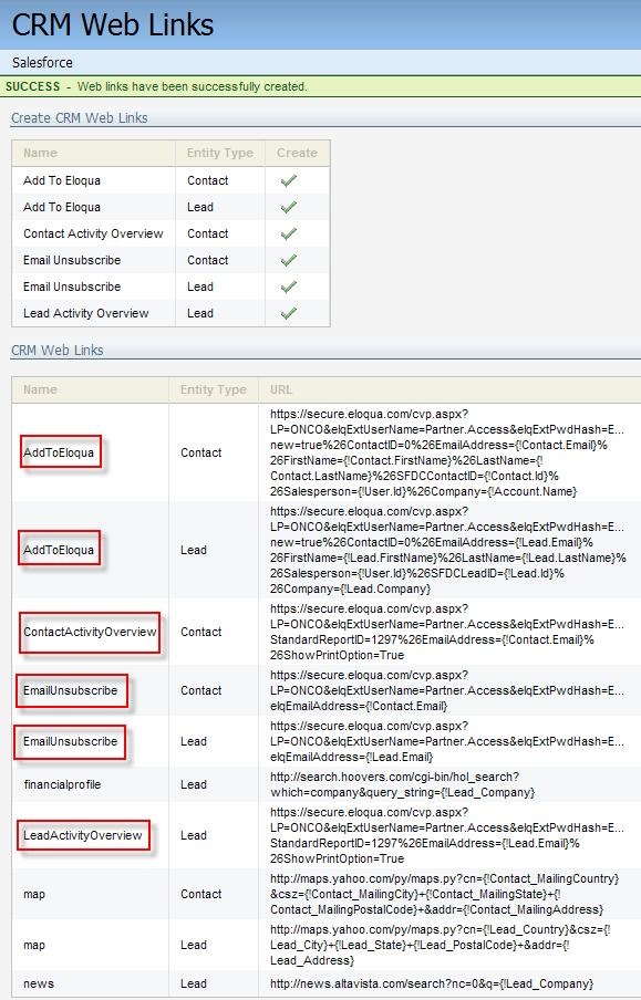 Eloqua Salesforce Integration CRM Web Links